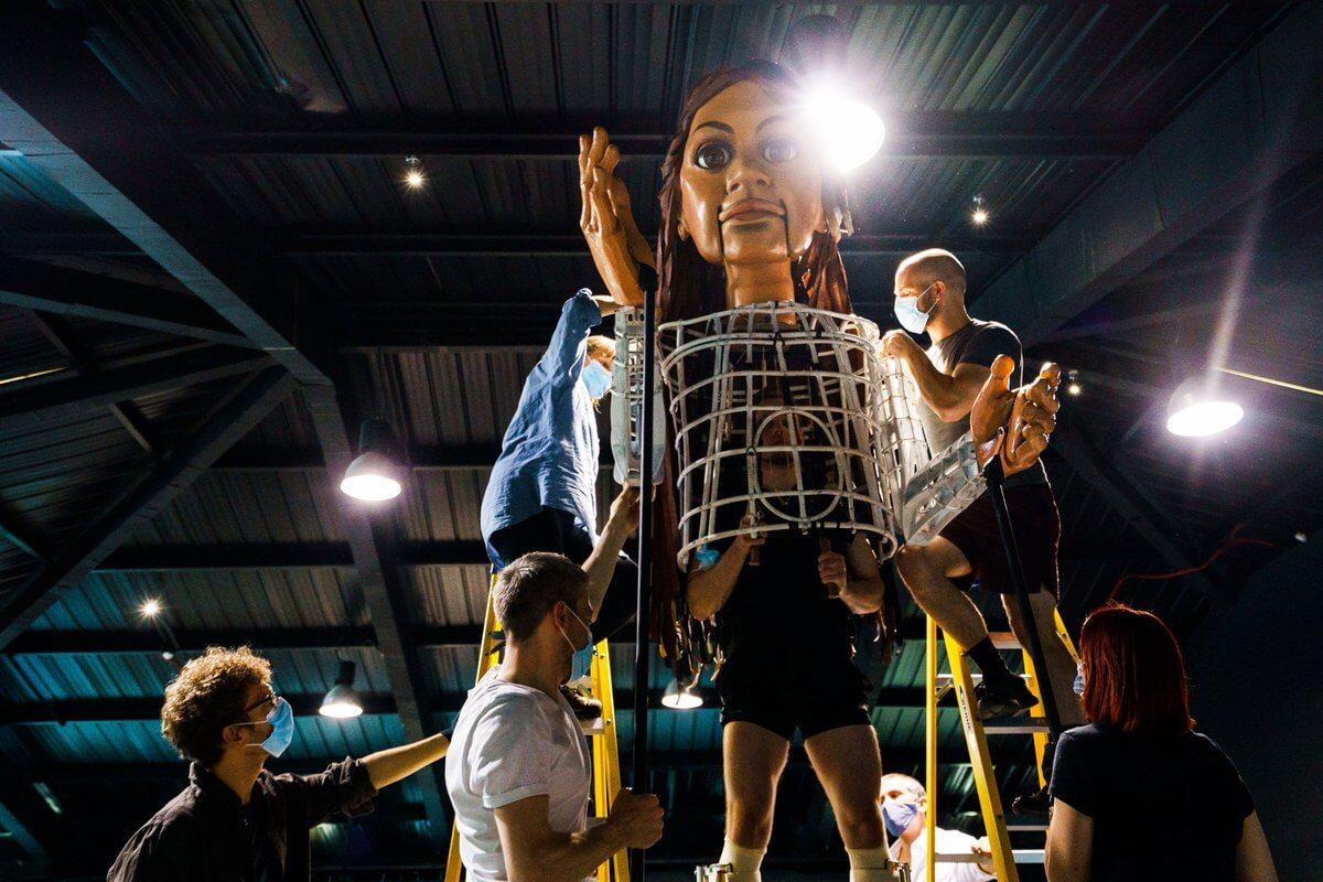 Giant puppet begins journey
